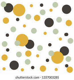 Vector abstact art. Texture made of colorful yellow, black, grey circles. Simple illustration template for invitations, cards, banner, textile, wrapping paper and other design. White background