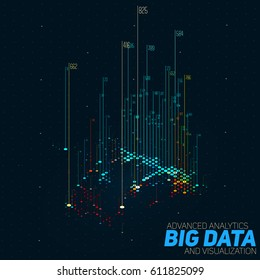 Vector abstract 3D big data visualization with bars. Futuristic infographics aesthetic design. Visual information complexity. Intricate data threads bar chart. Social network or business analytics.