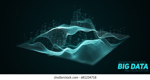 Vector abstract 3D big data plot visualization with shallow depth of field. Futuristic infographics aesthetic design. Visual information complexity. Social network or business analytics representation