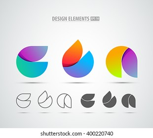 Vector abstract 3d drop logo design elements. Origami. Corporate identity. Application icon design.