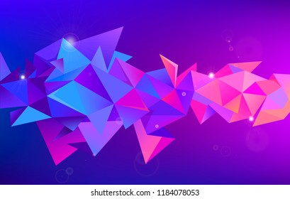 Vector abstract 3d geometric shape. Faceted, crystal, origami triangles background. Use for banner, cover, brochure, flyer, web app. Purple cosmic concept