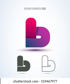 Vector abstract 3d letter b logo design elements. Origami. Corporate identity. Application icon design.