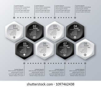 vector abstract 3d paper infographic elements.Black and white style.Hexagon infographics.Honeycomb design