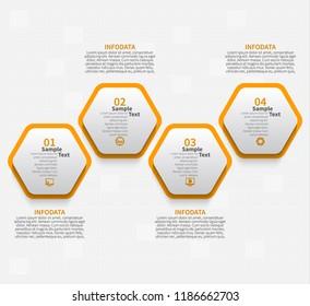 vector abstract 3d paper infographic elements.Hexagon infographics.Honeycomb design