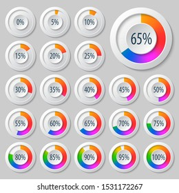 vector abstract 3d paper infographic elements.Business infographics.Pie charts for web design.Progress bar.Element for infographic chart.Rainbow Style