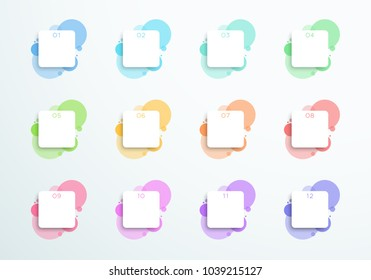 Vector Abstract 3d Square Text Boxes Number 1 to 12