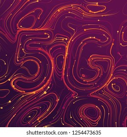 Vector abstract 5G new wireless internet connection background. Global network high speed network. Abstract 5G symbol with shiny curly lines and tiny glowing dots trails on a violet background