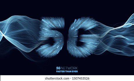 Vector abstract 5G new wireless internet connection background. Global network high speed network. 5G symbol construted with glowing lines with a lightspeed burst on background.