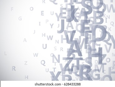 Vector abstract alphabet background with flying letters