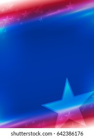 Vector abstract American Holidays background with stars. Vertical.