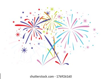 vector abstract anniversary bursting fireworks with stars and sparks on white background, carnival firework colorful illustration
