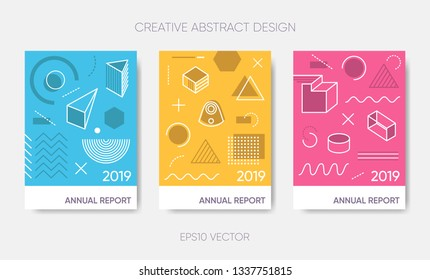 Vector abstract annual report 2019 poster design template