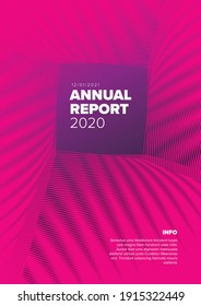 Vector abstract annual report cover template with sample text and abstract square pattern - simple minimalistic layout for brochure cover, flyer or document front page
