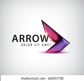 vector abstract arrow logo, icon isolated