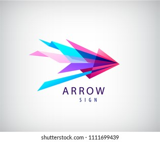Vector abstract arrow logo, origami faceted icon, web, dynamic sign