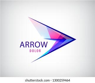 Vector abstract arrow, play logo. multicolor crystal pointer icon