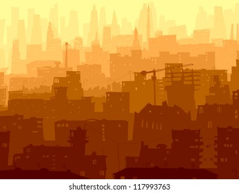 Vector abstract background of big city with roofs, windows and skyscrapers in sunset.