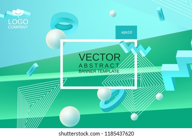 Vector abstract background in blue and green colors