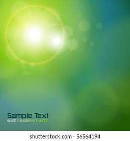Vector abstract background blue green lights