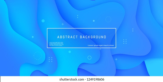 Vector abstract background with blue wave motion flow, geometric elements. Modern style presentation template, commercial poster layout, dynamic creative advertisement banner wallpaper with text space