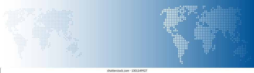 Vector abstract background blue world with dots, global business concept. Header and banner