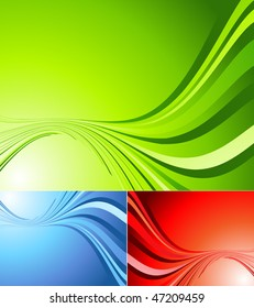 vector abstract background with bright wavy lines in three colors