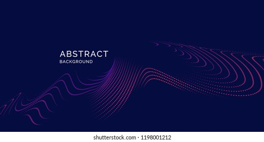 Vector abstract background with a colored dynamic lines, and particles. Illustration suitable for design