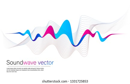 Vector abstract background with a colored dynamic waves, line and particles. Vector Illustration waveform.