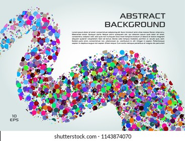 Vector abstract background with colorful dots in wave