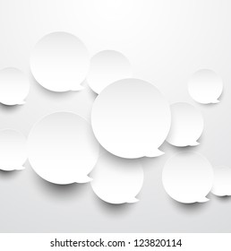 Vector abstract background composed of white paper round speech bubbles. Eps10.