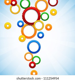 Vector abstract background contains of colorful gear circles.