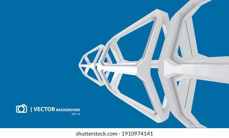 IMAGE VECTORIELLE ARRIÈRE-PLAN ABSTRAIT, cubes formes sur fond bleu