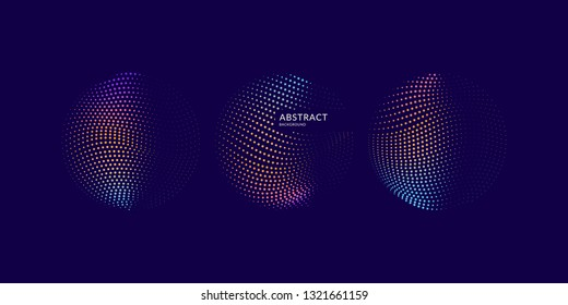 Vector abstract background with dynamic waves, line and particles. Illustration suitable for design