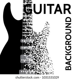 vector abstract background with electric guitar and notes.