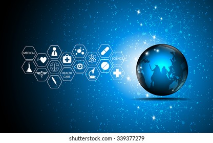 vector abstract background globe and medical health care innovation concept