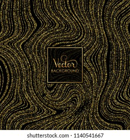 Vector abstract background with gold glitter on black