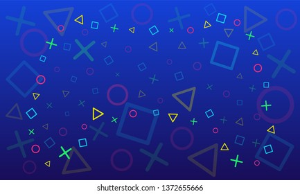 Vector abstract background. Gradient of shades of blue. On the artboard there are circles, squares, trogolniki, crosses. Laid out as a gamepad, the colors of the elements are blue, yellow, green, red.