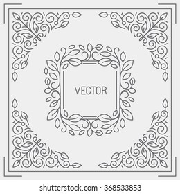 Vector abstract background, greeting card and logo design template in trendy linear style with floral border and monogram