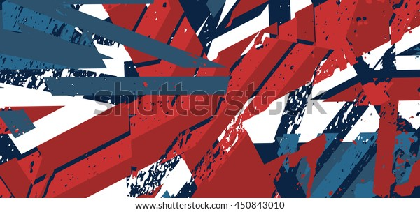 Vector abstract background with grunge textures. Illustration made of the elements of the UK flag. Union Jack background.