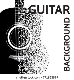 vector abstract background with guitar and notes.