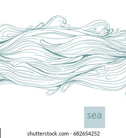 Vector abstract background with hand drawn waves on white