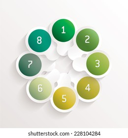vector abstract background - infographics - overlapping white and green circles