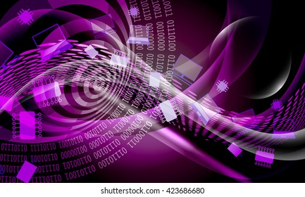 Vector abstract background with lines and waves and binary code