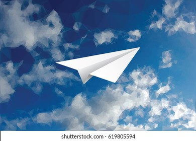 vector abstract background with low poly cloudy sky and paper plane