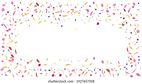 Vector abstract background with many falling tiny colorful confetti pieces and ribbon. Carnival, Christmas or New Year decoration colorful party pennants for birthday , festival