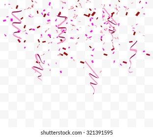 Vector abstract background with many falling pink tiny confetti pieces national breast canser awaeness month. ribbon