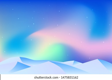 Vector abstract background. Northern Lights. Landscape in minimalistic concept. Sky with color gradient fill. Graphic design element for games, web pages, banners.