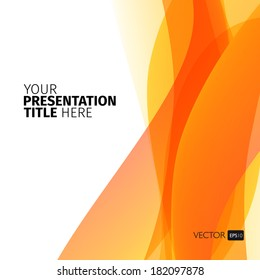 Vector abstract background with orange waves. Presentation template.