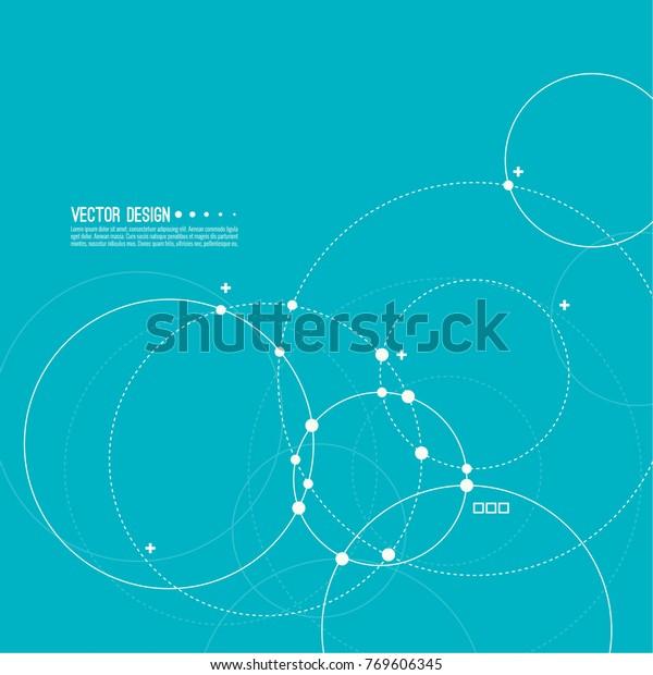 円とドットが重なるベクター抽象的背景。カオスの動き。テキスト用の空白の丸いバナー。ノード分子構造。科学と接続のコンセプト。