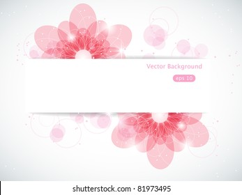 Vector abstract background with pink flowers